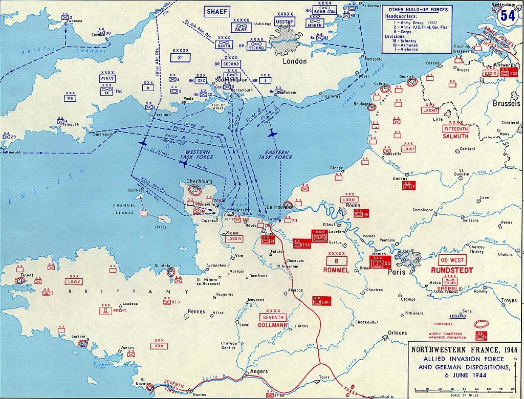 Map showing Allied & German positions on June 6 1944 in Normandy from the UK to France