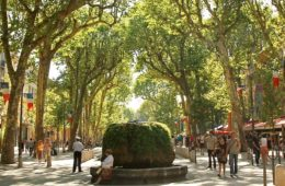 Tree lined pedestrian street in Provence with cafes and people and central fountain