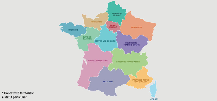 Map of new French regions