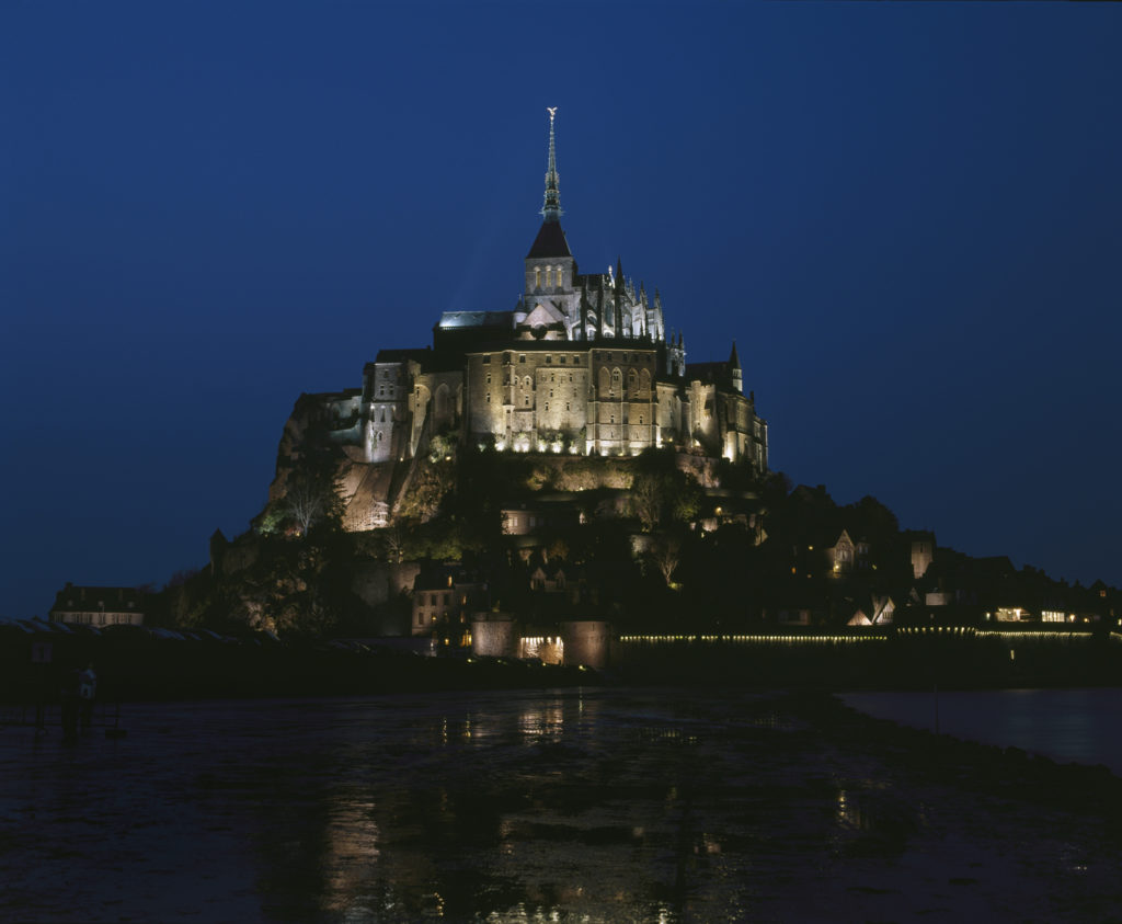 Mont-Saint-Michel from a distance at night