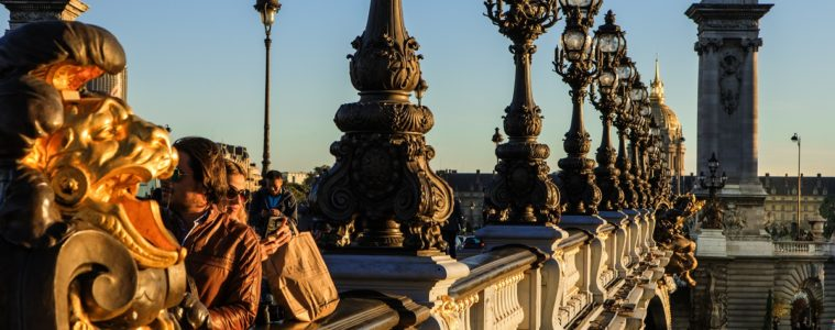 Evening sun picks out the gold on the Pont Alexandre, Paris