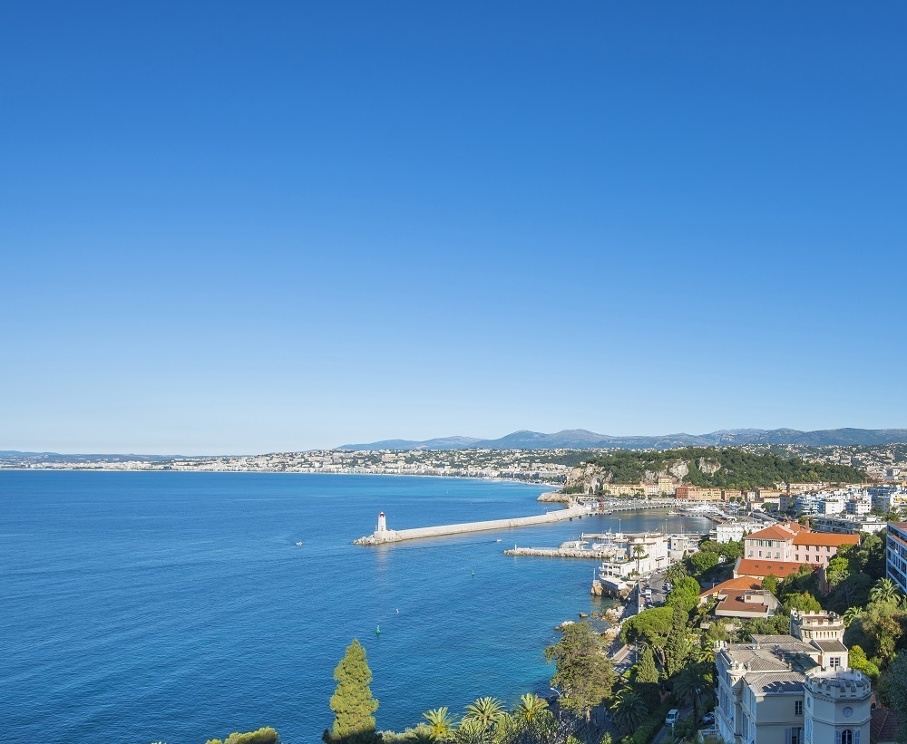 Aerial view over Nice with sea