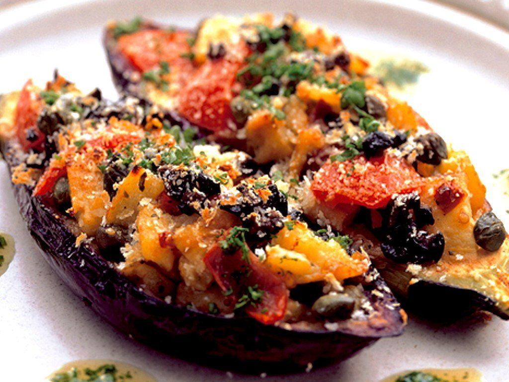 Stuffed aubergines on plate