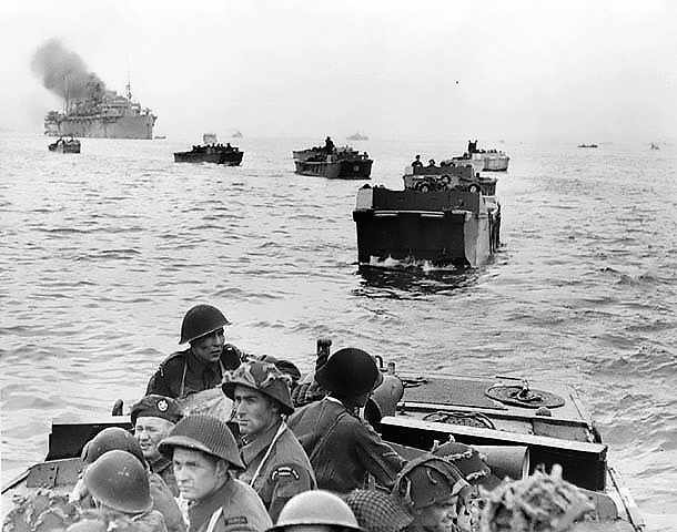 Canadians landing in boat at Juno Beach