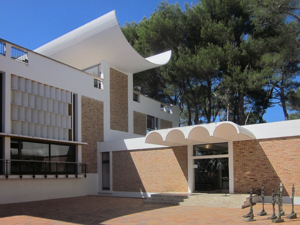 Modern Fondation Maeght building with trees in background