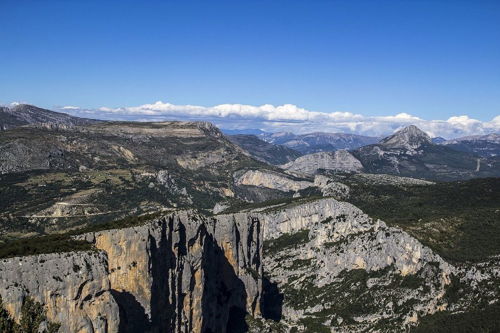 Rocky landscape looking over the Gorges du Verdon southern France