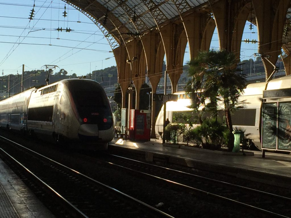 Train pulling into Nice railway station