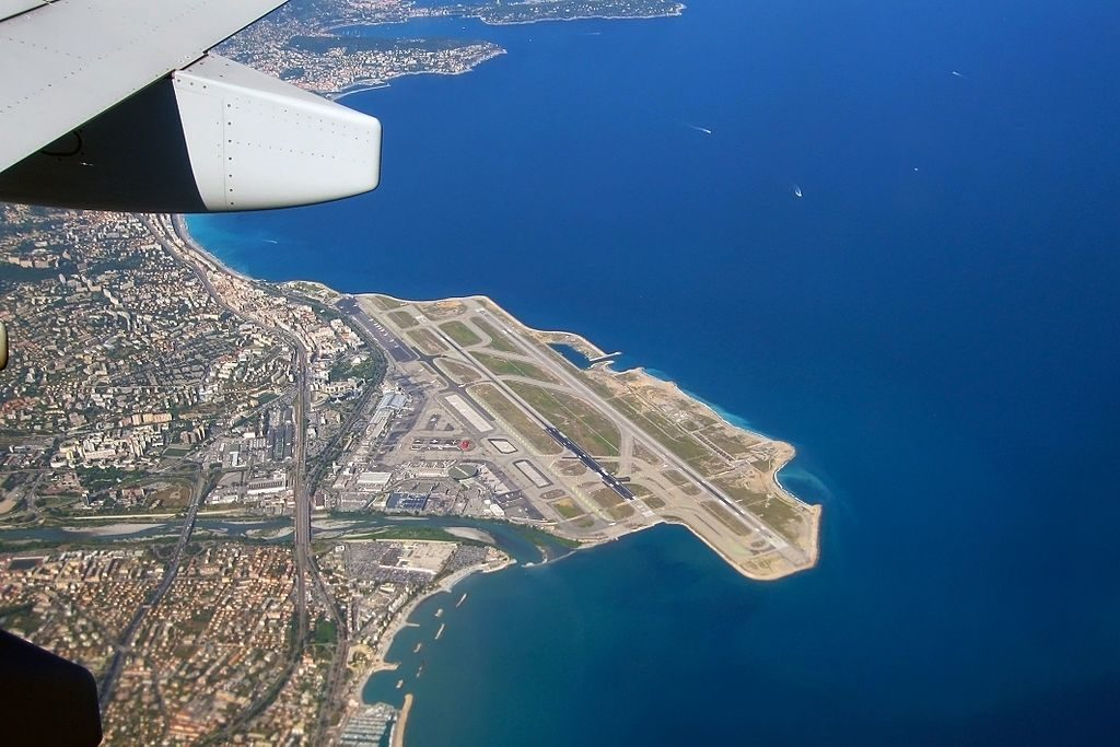 View from air over Nice Airport showing it jutting out into the Med