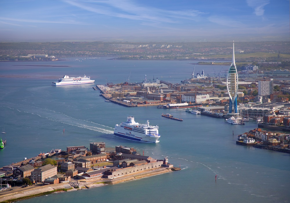 Aerial view of Brittany Ferries arriving in Portsmouth