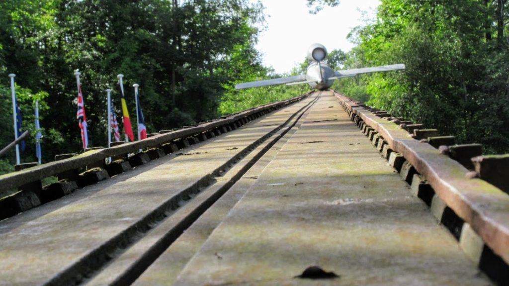 View up a V1 Ramp at Eperlecques with a V1 rocket at the end