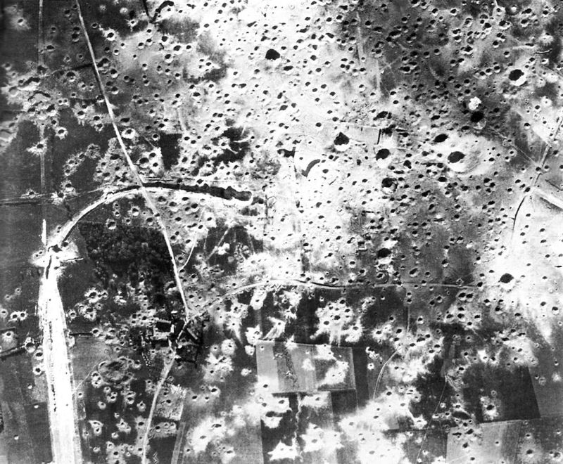 Aerial reconnaissance photo of Mimoyecques