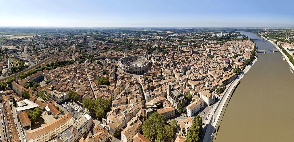 Arles from the air with the circular Roman theater