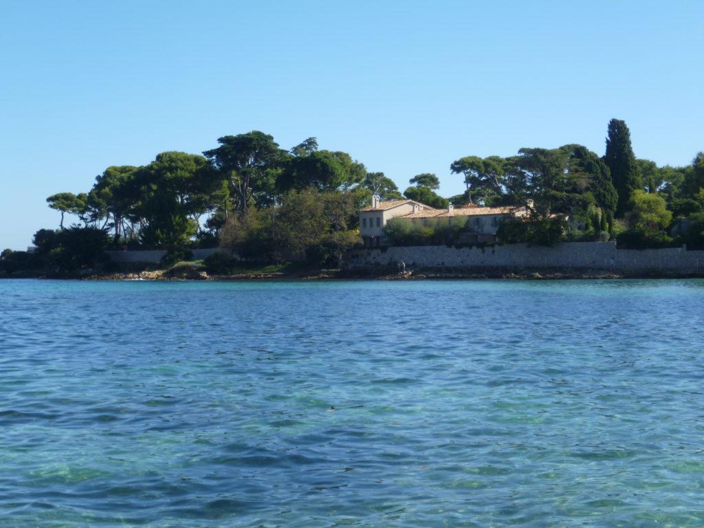 View of Alain Delon's villa on the Cap d'Antibes fromthe sea