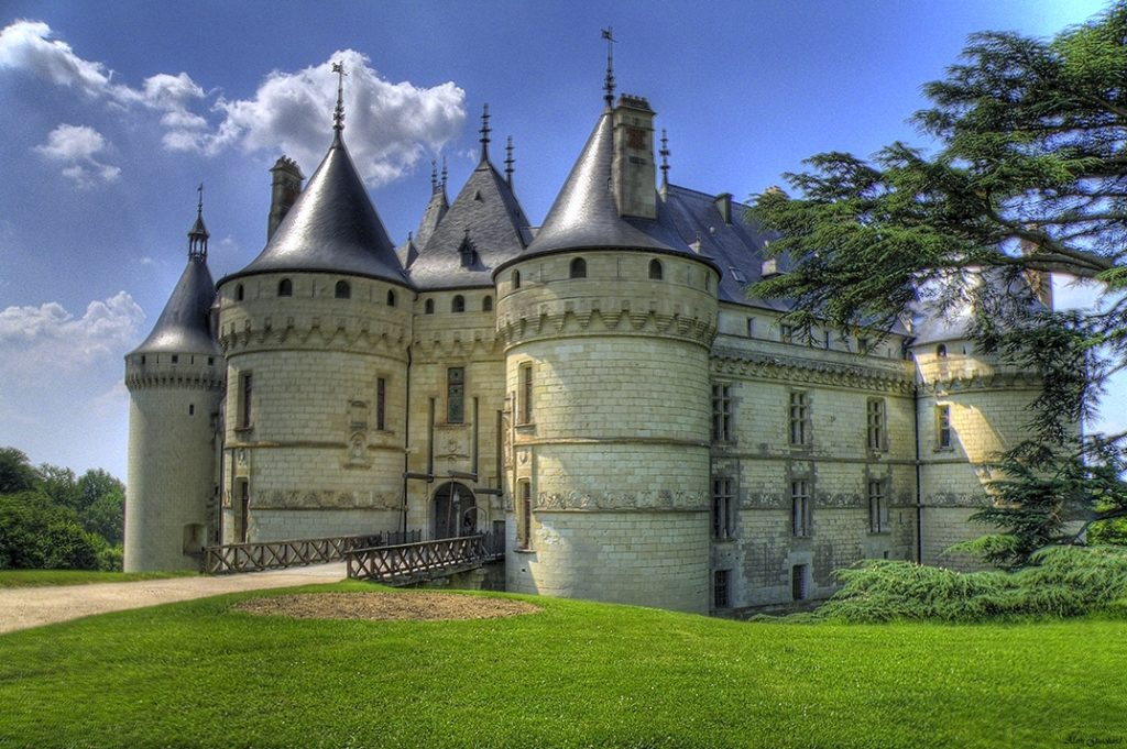 Château  de Chaumont. White towers and onion tops