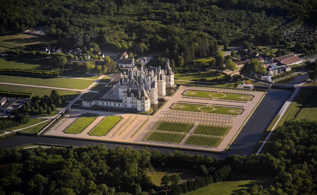 chambord Chateau from the air with its gardens
