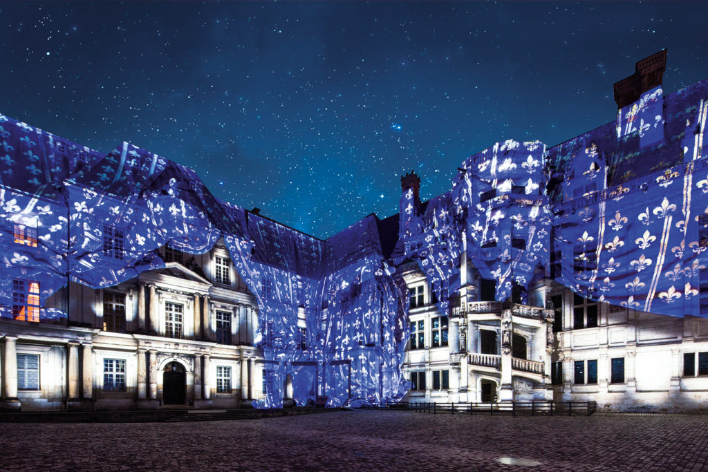 Château de Blois Sound and Light Show flickers on the walls