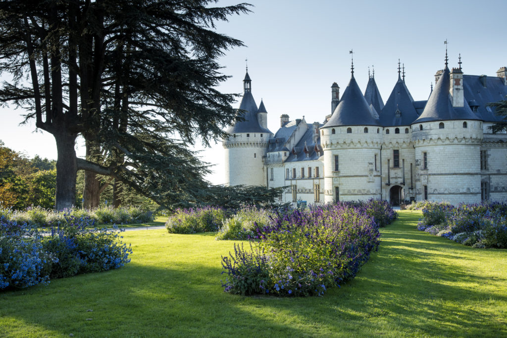 Chaumont-sur-Loire with white chateau in background and gardens in front