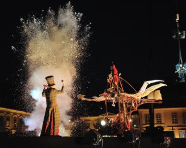 street night festivities in Epernay with strange figures