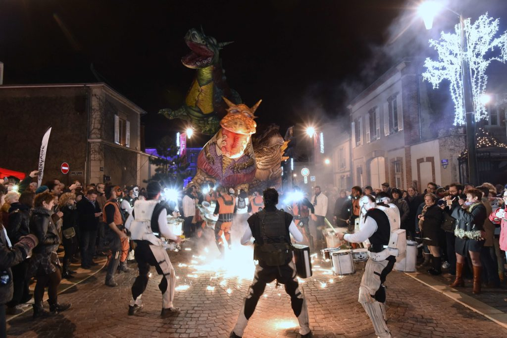 epernay Festivities in December with lit up figures in white in the streets