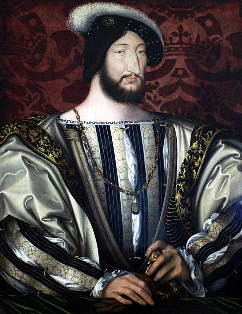 Portrait of Francis I by Jean Clouet in magnificent Renaissance costumes with big sleeves!