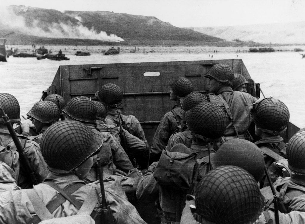 American troops landing at Omaha beach June 6, 1944.