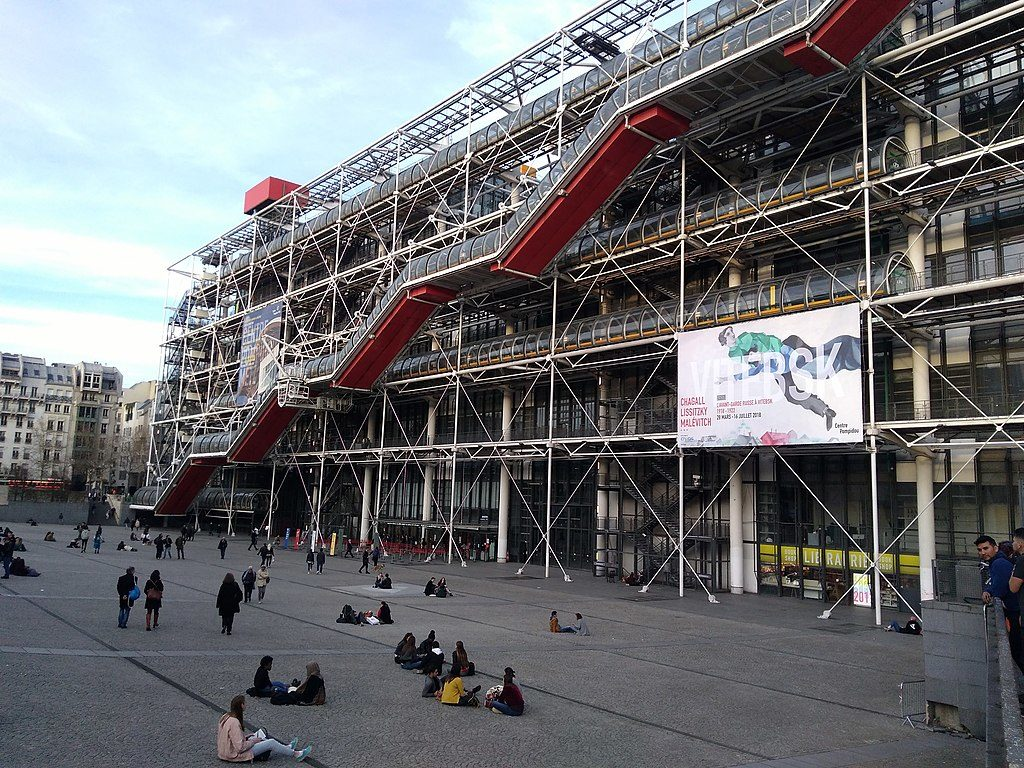 Pompidou Centre, Paris exterior with staircase