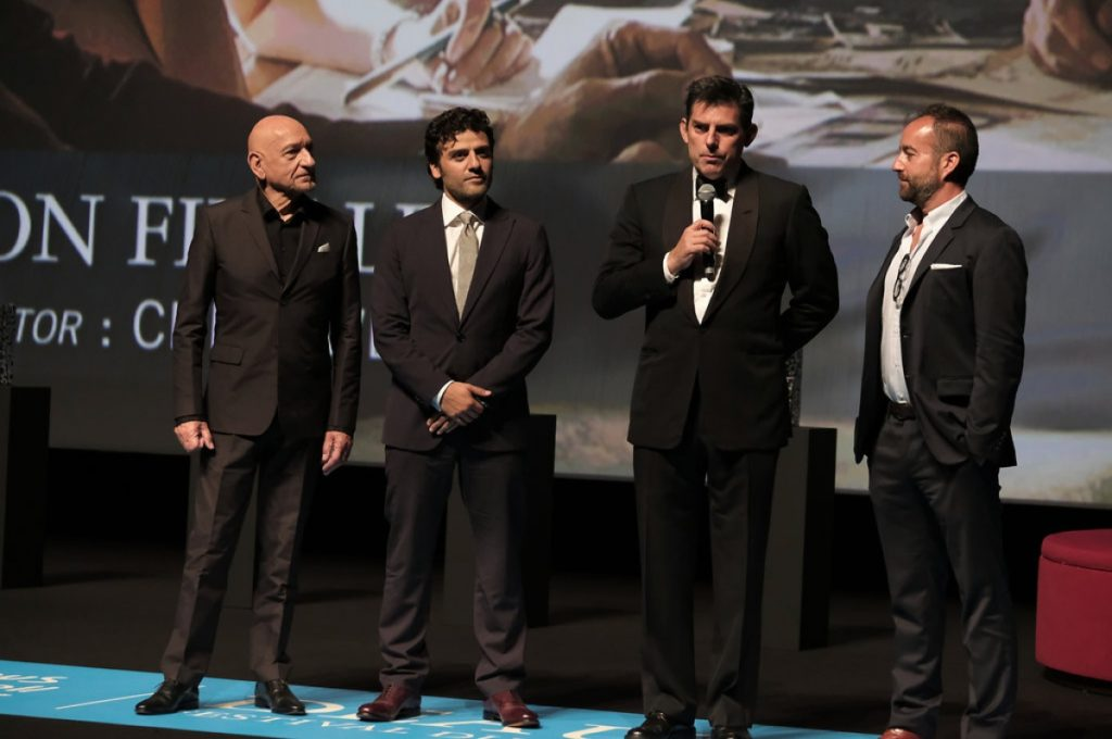 Sir Ben Kingsley, Oscar Isaac, Chris Weitz Olivier Vigerie at Deauville