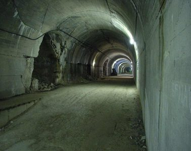 Long dark tunnel at Mimoyecques