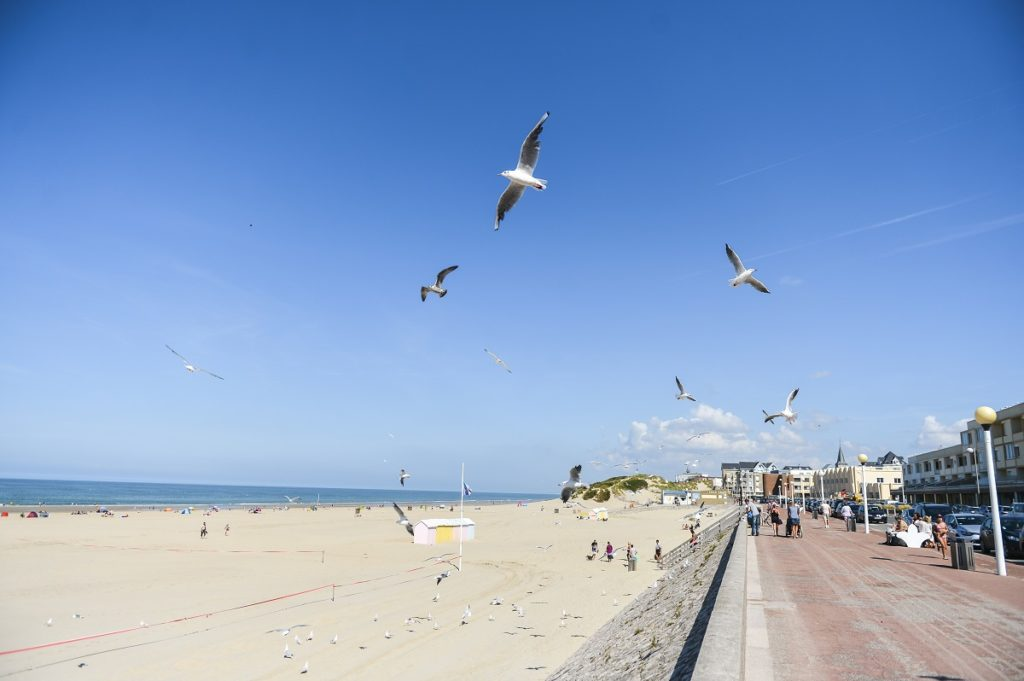 Promenade on right with sand and sea and kite flyers in Berck