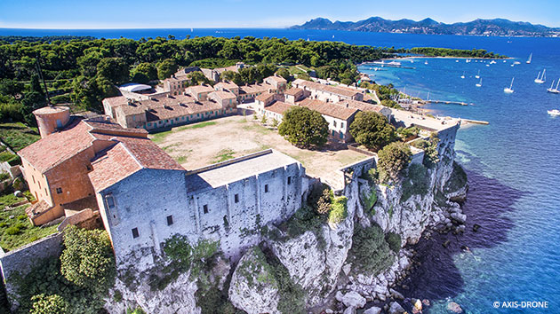 overhead view of Fort Royal and Maritime Museum on Ste Marguerite with sea in background