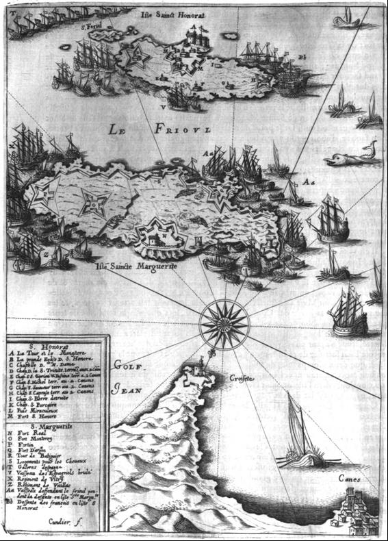 Old 1637 map of Iles de Lerins battle