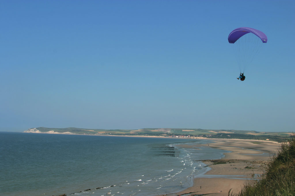 hang glider over north french coast