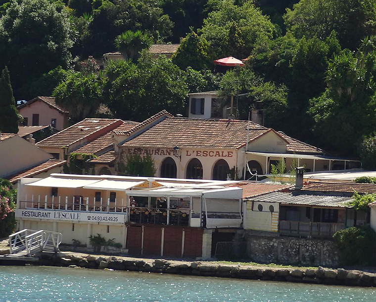 L'escale restaurant from the sea from trans cote d'azur ferry