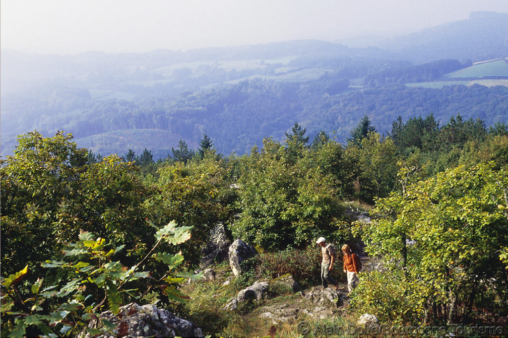 Walkers in forefront on hillside overlooking large landscape of Morvan, Burgundy