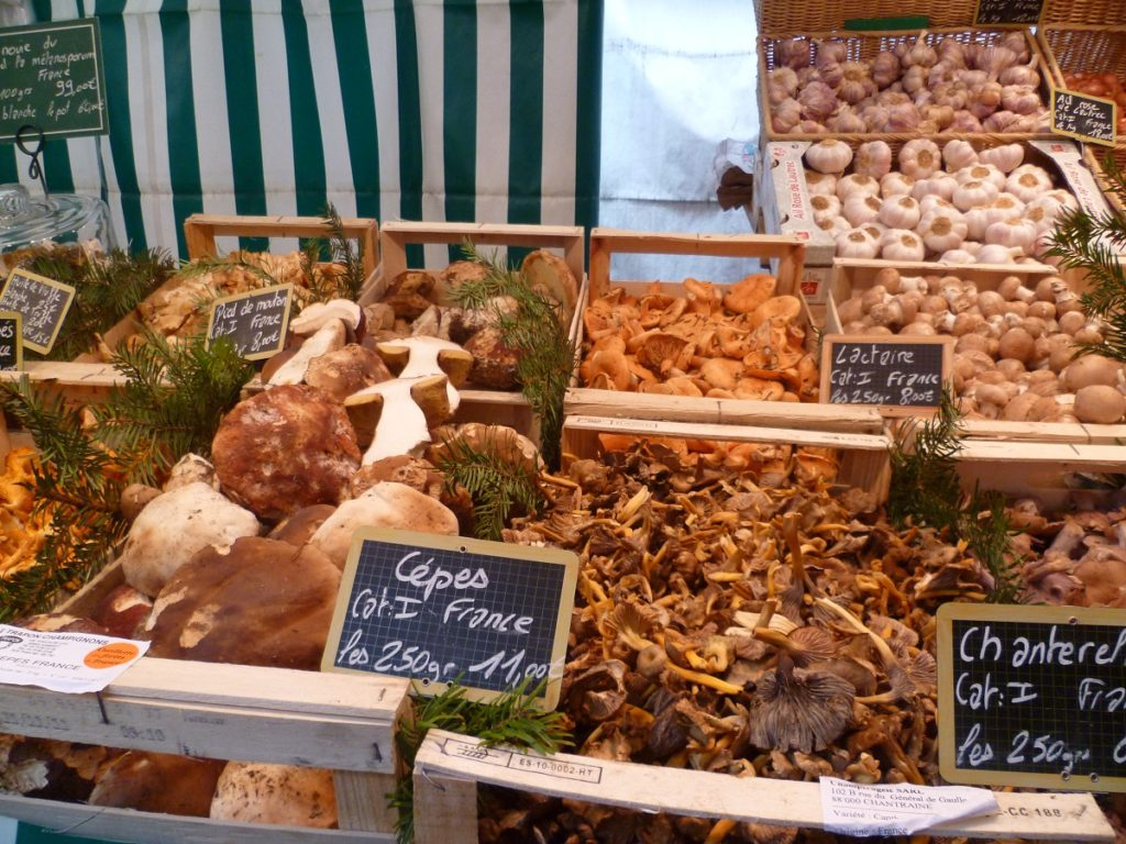 different mushrooms in boxes with prices on blackboards at French market