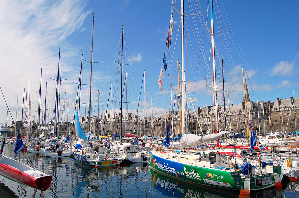 Port Intra-Muros St Malo with sailing boats in front and walled citadel in background