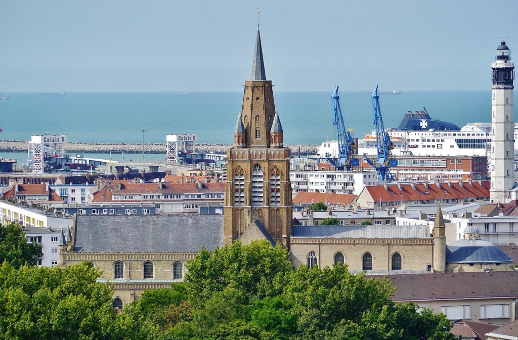 View over to cathedral in Calais and port in background
