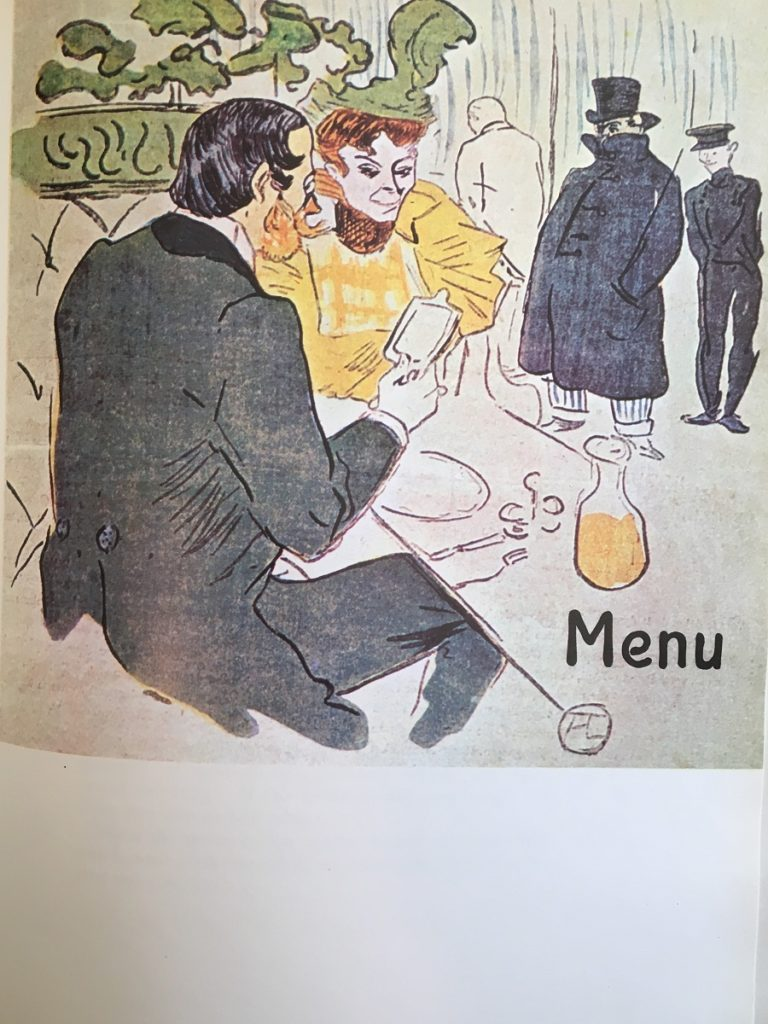 Toulouse-Lautrec Menu for his friends with couple he in black and she in yellow sitting at table of food and wine carafe