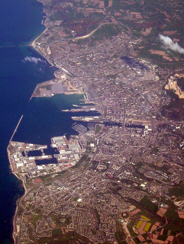 Aerial view of Cherbourg Port