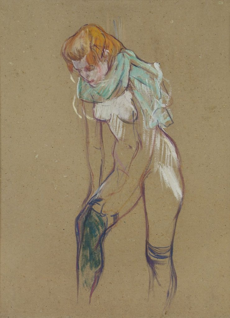 Femme qui tire son bas 1894 picture by Toulouse-Lautrec in pastels