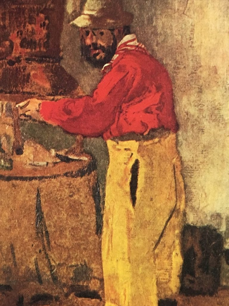Toulouse-Lautrec cooking with yellow trousers and red top and hat at the stove by Vuillard