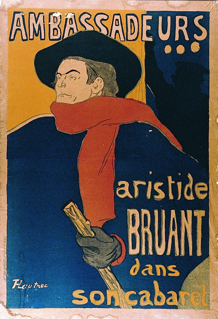 Toulouse-Lautrec Poster of Aristide Bruant with black hat, red scarf and cane